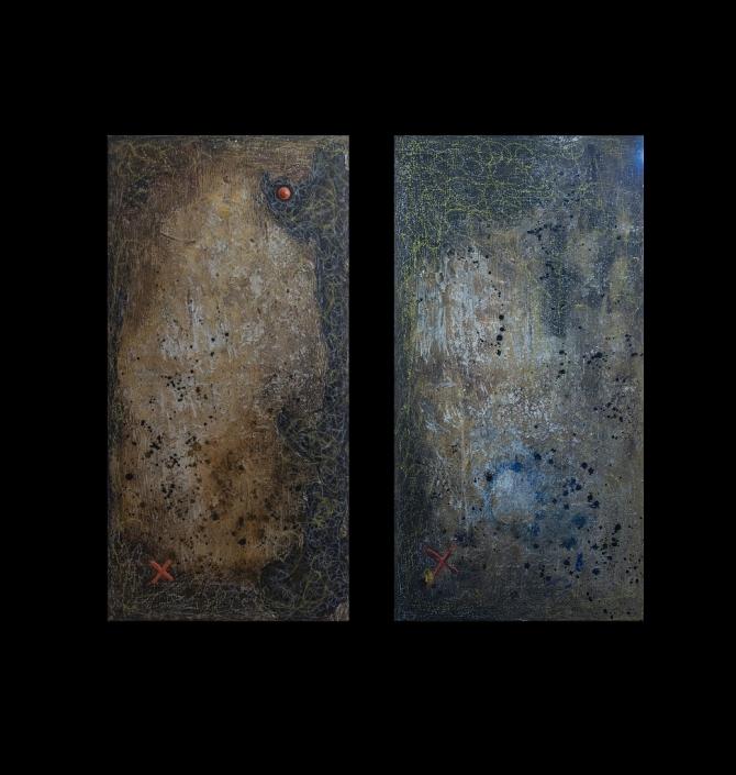 Duo 90 x 45 cm Acryl auf Leinwand